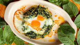 Спанак с ориз и яйце