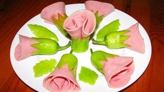 Розички от зелени чушки и шунка
