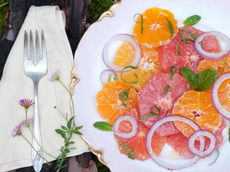 Цитрусовите плодове на салата